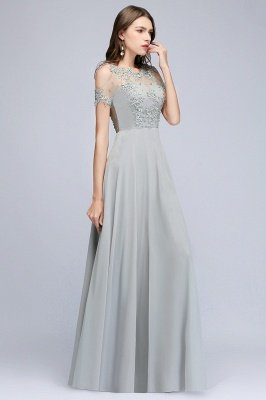 A-Line Appliques Scoop Beaded Silver Cheap Cold-Shoulder Bridesmaid Dresses_2