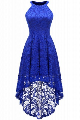Lace Dress Female Robe Casual 1950s Rockabilly High Low Sleeveless Swing Summer Dresses_5