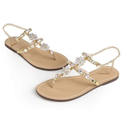Beach Chain Daily Rhinestone Flip-flops Sandals_8