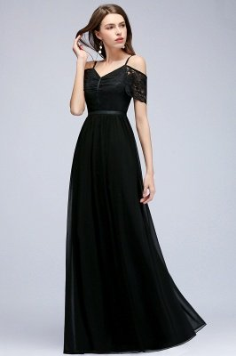 A-line  Lace V-Neck Off-the-shoulder Sleeveless Floor-Length Bridesmaid Dresses_3