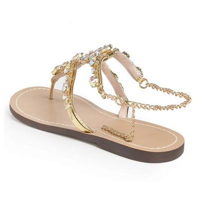 Beach Chain Daily Rhinestone Flip-flops Sandals_4