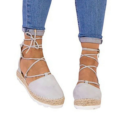 Espadrilles Lace-up Hollow Out Round Toe Suede Sandals_9