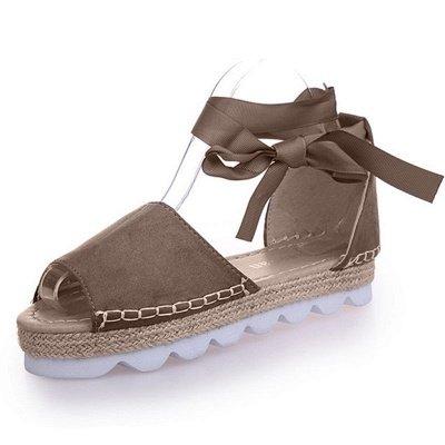Lace-up Casual Flocking Platform Sandals_3