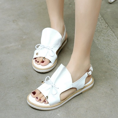 Peep Toe Bowknot Comfortable Summer Hollow-out Casual Sandals_11