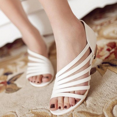 Hollow-out Daily Summer Peep Toe Wedge Sandals_1