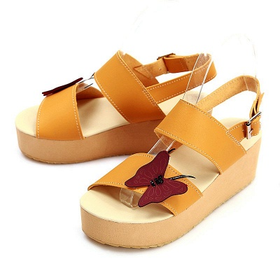 Butterfly Daily Buckle Peep Toe Platform Wedge Sandals_14