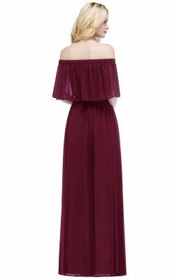 A-line  Off-the-Shoulder Short-Sleeves Ruffles Floor-length Bridesmaid Dress_2