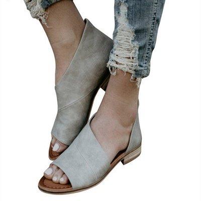 Peep Toe PU Daily Summer Chunky Sandals_2