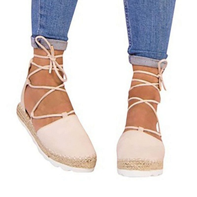 Espadrilles Lace-up Hollow Out Round Toe Suede Sandals_7