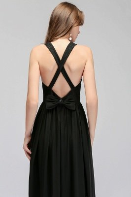 Crisscross Lace A-line  V-Neck Black Evening Dress_7