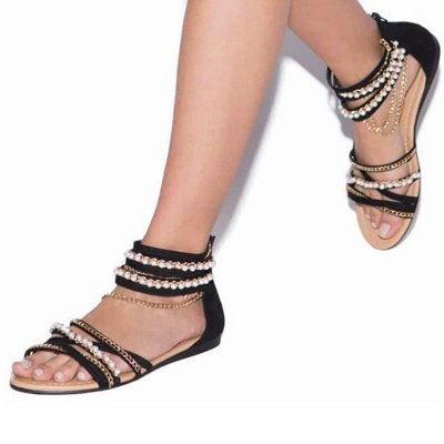 Chain Open Toe Imitation Pearl Daily Summer Sandals_3
