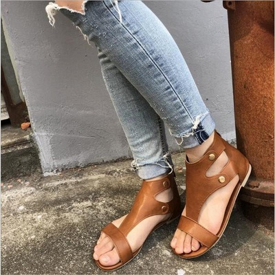 Summer Ankle Strap Women Flat Shoes_5