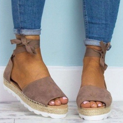 Lace-up Casual Flocking Platform Sandals_13