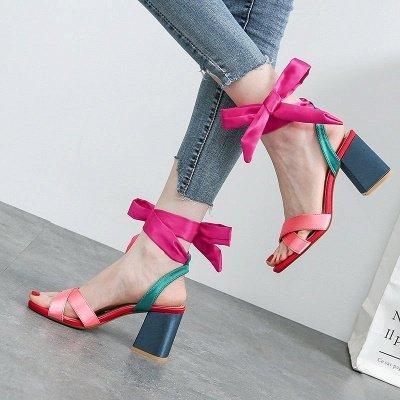 Fuchsia Bowknot Daily Chunky Sandals_6