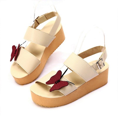 Butterfly Daily Buckle Peep Toe Platform Wedge Sandals_12