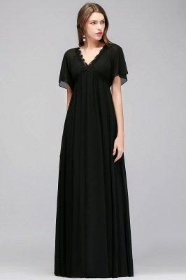 A-line  V-Neck Short-Sleeves Floor-Length Bridesmaid Dresses_1
