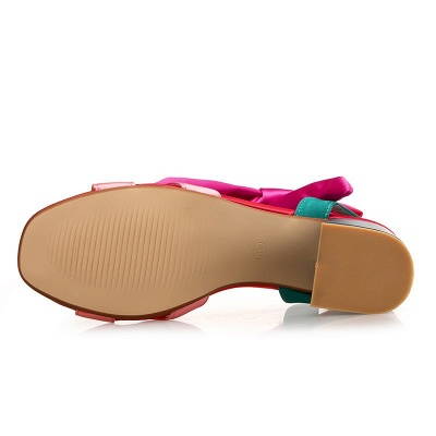 Fuchsia Bowknot Daily Chunky Sandals_3