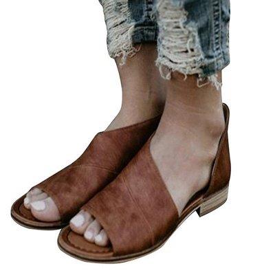 Peep Toe PU Daily Summer Chunky Sandals_7