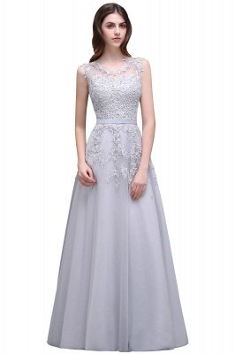 A-line Floor-length Tulle Prom Dress with Appliques_7