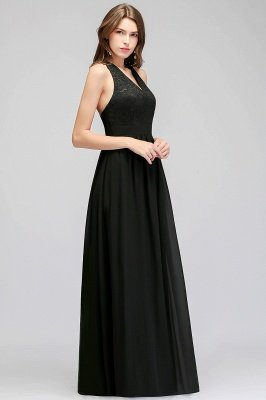 Crisscross Lace A-line  V-Neck Black Evening Dress_4