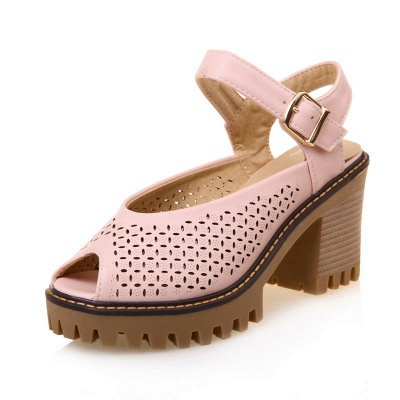 Peep Toe Platform Buckle Daily Chunky Sandals_2