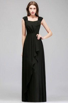Black Cheap Long Ruffles Sleeveless Straps Evening Dress_4