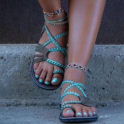 Summer Handmade Breathable Bandage Beach Flat Sandals cpa1110_1