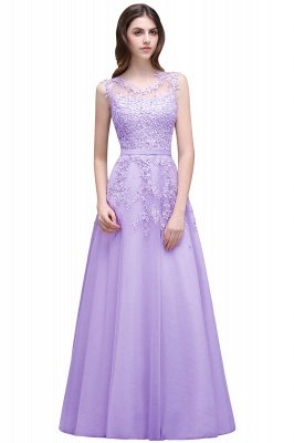 A-line Floor-length Tulle Prom Dress with Appliques_4