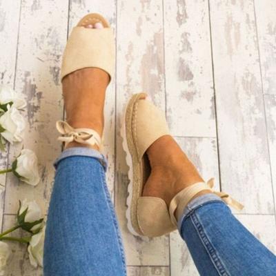 Lace-up Casual Flocking Platform Sandals_12