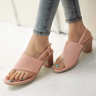 Buckle Hollow-out Flip-flops Chunky Sandal_5