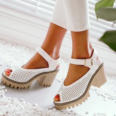 Peep Toe Platform Buckle Daily Chunky Sandals_5