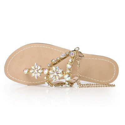 Beach Chain Daily Rhinestone Flip-flops Sandals_7