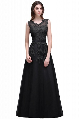 A-line Floor-length Tulle Prom Dress with Appliques_6