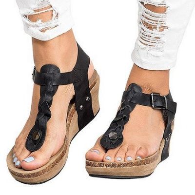 Summer Daily PU Braided Strap Sandal_2