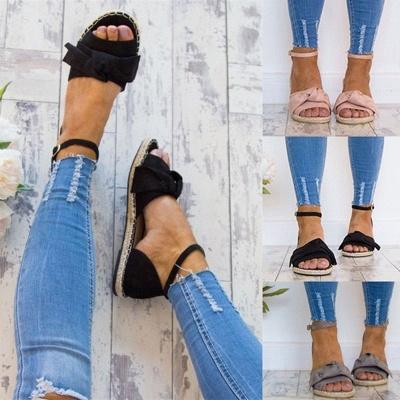 Ankle Strap Flats Lace Up Shoes Suede Espadrilles Sandals_2