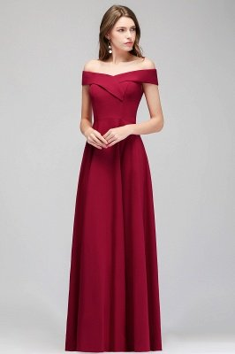 A-line Off-the-Shoulder Long Burgundy Evening Gowns_2