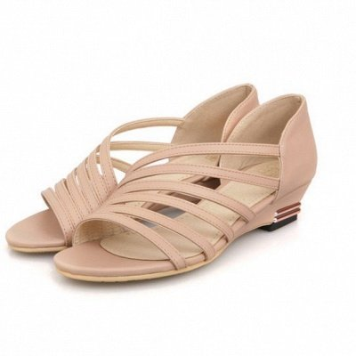 Hollow-out Daily Summer Peep Toe Wedge Sandals_2