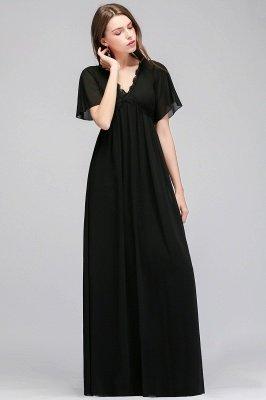 A-line V-neck Short Sleeves Long Black Chiffon Bridesmaid Dress_2