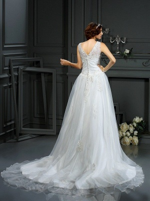 Scoop Sleeveless Sweep Train Applique Tulle Wedding Dresses_2