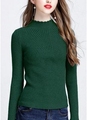 Fashion Women Turtleneck Long Sleeve Ruffled Knitting Sweater_9