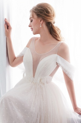 NANCY | Affordable Sleeveless Floor Length Lace Ivory Wedding Dresses_11