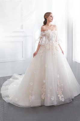 NANCE   Puffy Off-the-shoulder Floor Length Lace Appliques Wedding Dresses_6