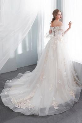 NANCE   Puffy Off-the-shoulder Floor Length Lace Appliques Wedding Dresses_3