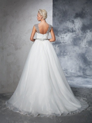 Long Ruched Sleeveless Wedding Dresses | Stunning Tulle Puffy Straps Bridal Gowns_3