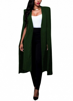 Fashion Women Cloak Cape Split Slim Office OL Suit Solid Long Blazer_5