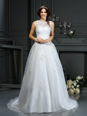 Scoop Sleeveless Sweep Train Applique Tulle Wedding Dresses_1