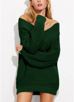Sexy Women Off the Shoulder V Neck Chunky Knitwear_4