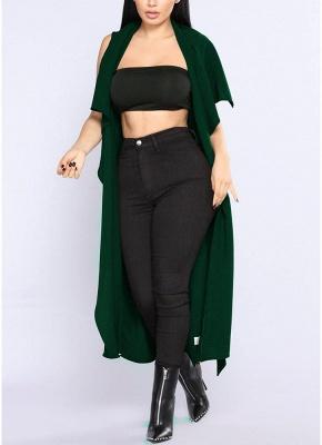Women Coat Outerwear Striped Belt Sleeveless Turn-Down Collar Open Front Casual Long Overcoat_5