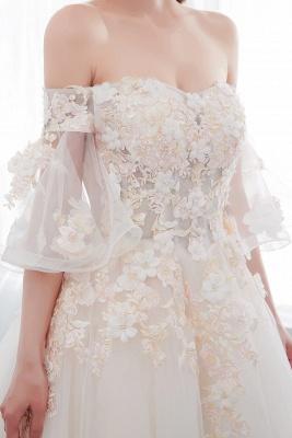 NANCE   Puffy Off-the-shoulder Floor Length Lace Appliques Wedding Dresses_10