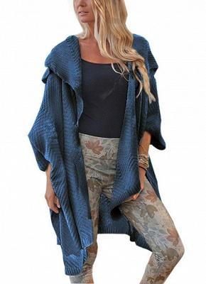 Women Loose Sweater Cardigan Open Front Batwing Sleeve Solid Split Knitted Outerwear_3